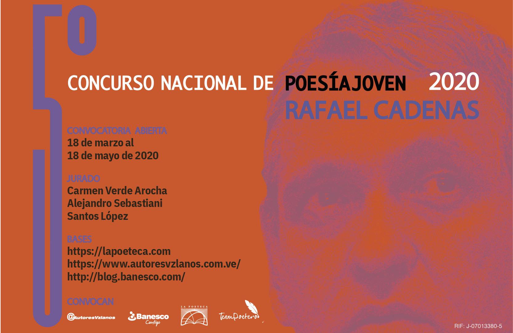 Concurso de Poesía Joven Rafael Cadenas está abierto en su quinta edición