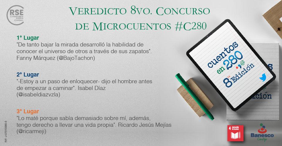 Banesco anuncia los ganadores del 8vo. Concurso de Microcuentos #C280.