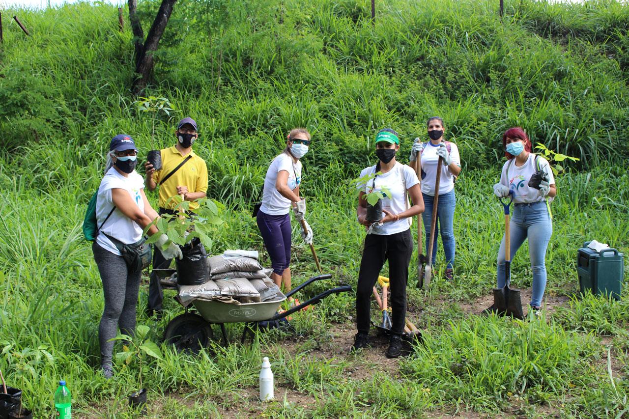 Voluntarias de Banesco y el representante de la Fundación Siembra Más Vida siembran los Araguaneyes y Apamates, en las proximidades de la Laguna Venezuela del Jardín Botánico.
