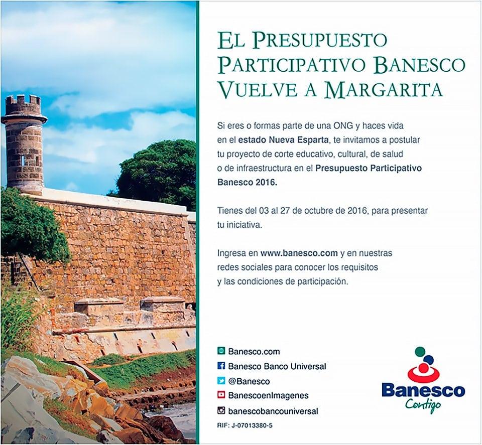 Banesco lleva por segundo año consecutivo  Presupuesto Participativo a Margarita