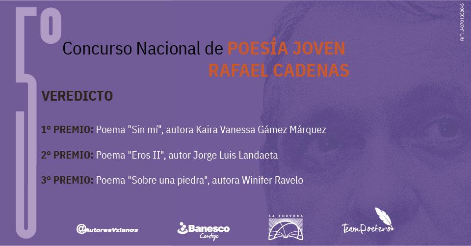 Veredicto 5to Concurso Nacional de Poesia Joven Rafael Cadenas